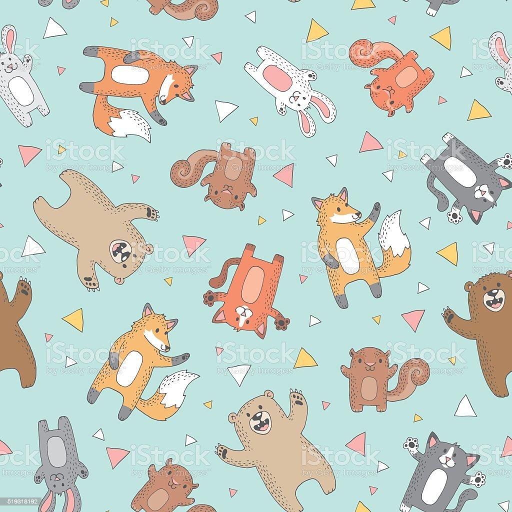 Woodland Creatures Repeat Pattern vector art illustration