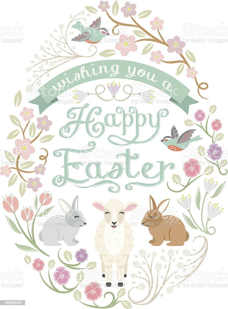 Woodland Easter Egg vector art illustration