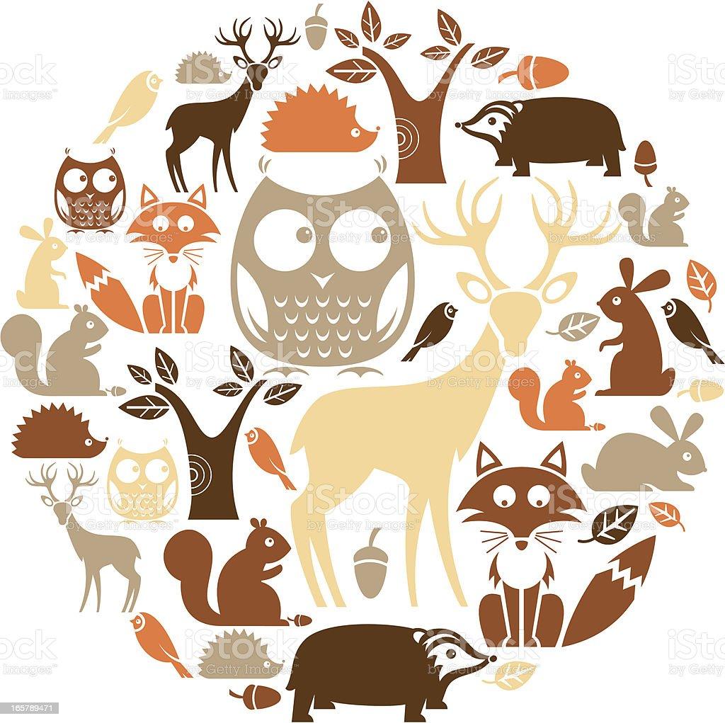 Woodland Icon Set vector art illustration
