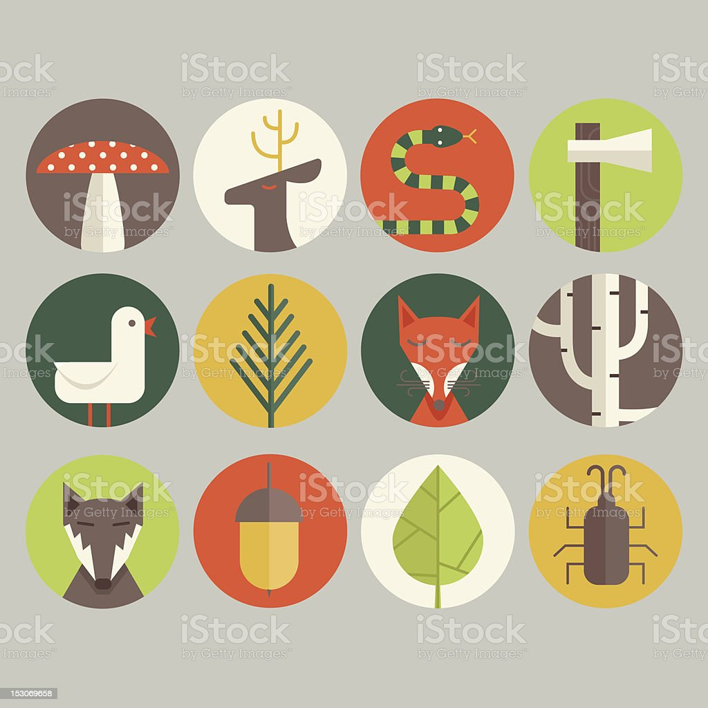 Woodland Icons royalty-free stock vector art