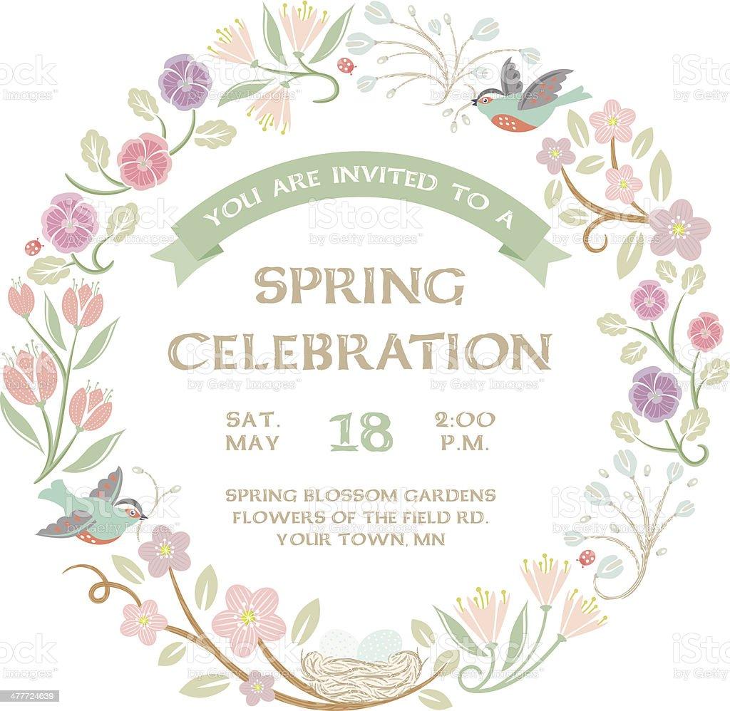 Woodland Spring Wreath vector art illustration