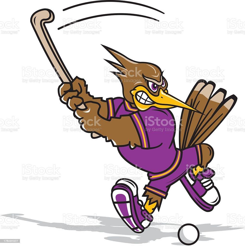 Woodpecker Playing Field Hockey royalty-free stock vector art
