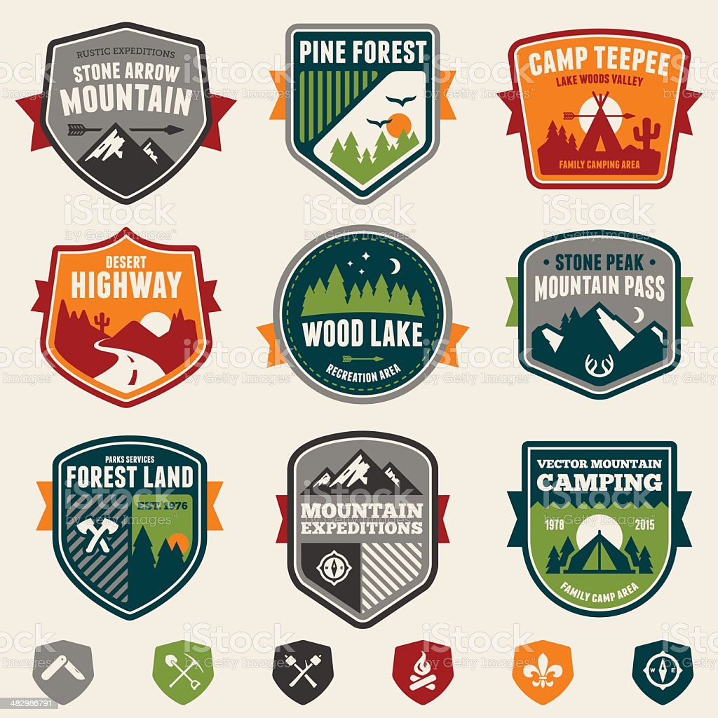 Woods badges and icons vector art illustration