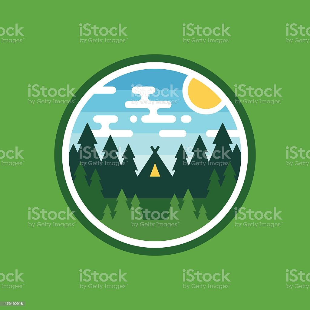Woods camping badge vector art illustration