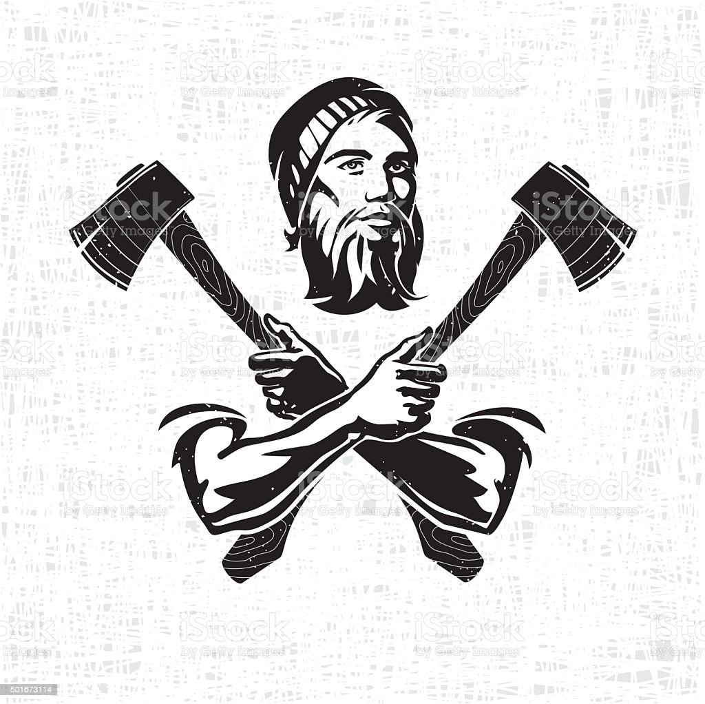 Woodsman is holding the hatchets vector art illustration