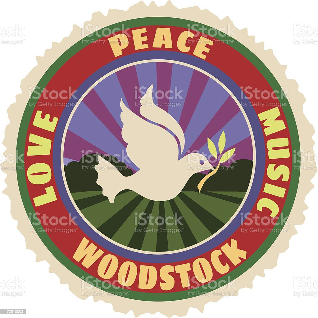 Woodstock luggage label or travel sticker vector art illustration