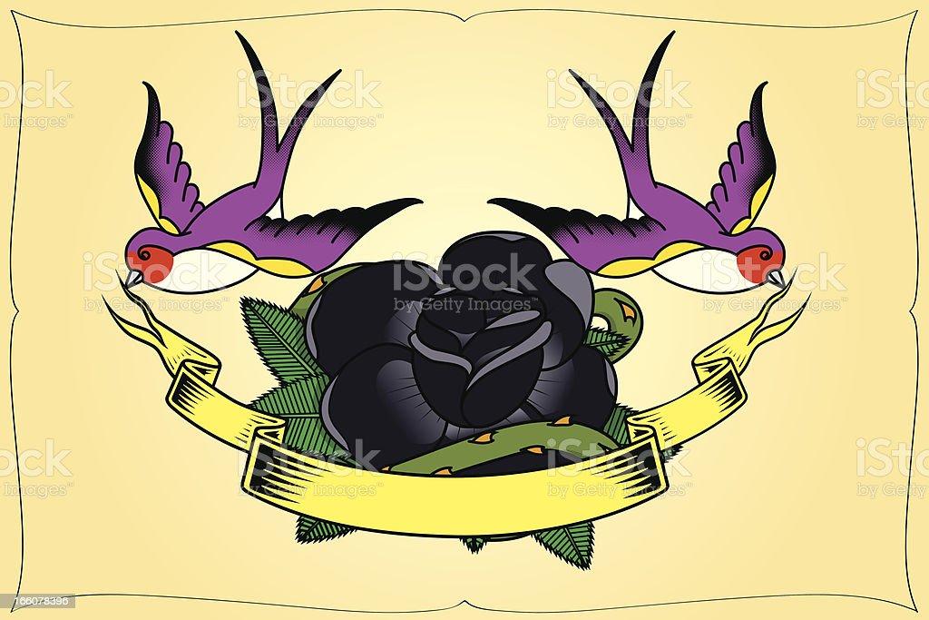 Woodswallow and rose tatoo royalty-free stock vector art