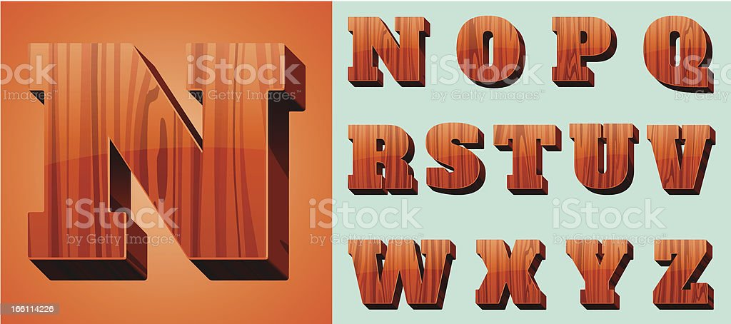 Woodtype Alphabet (N-Z) royalty-free stock vector art