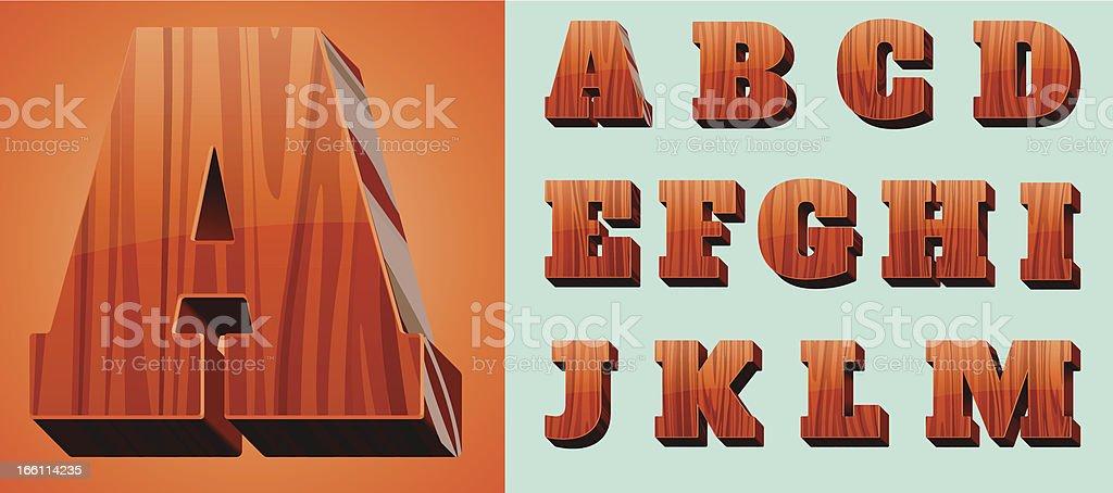 Woodtype Alphabet royalty-free stock vector art