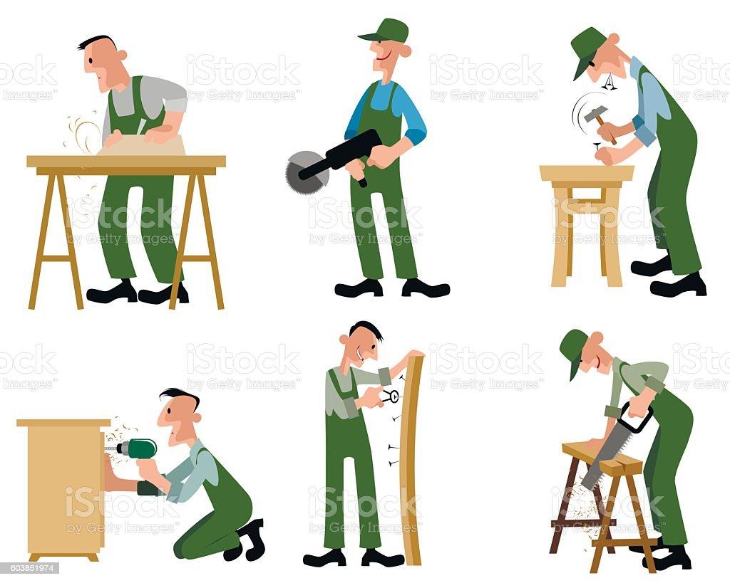 Woodwork professionals set vector art illustration