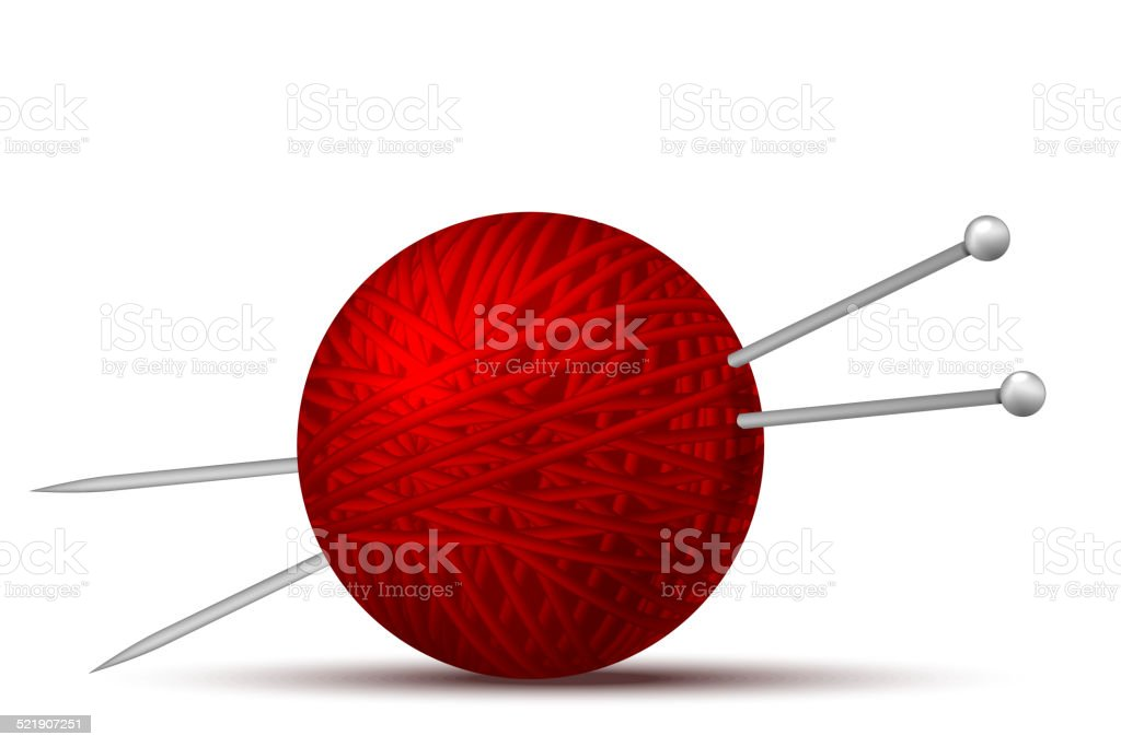 Wool ball and knitting needles vector art illustration