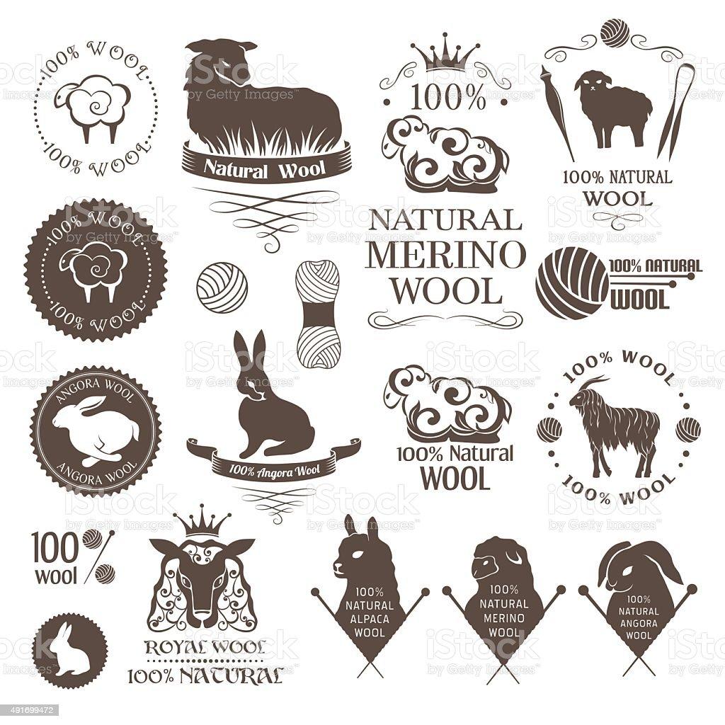 Wool design elements. vector art illustration