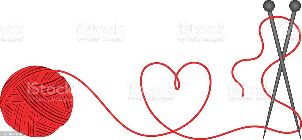Wool knitting heart shape vector art illustration