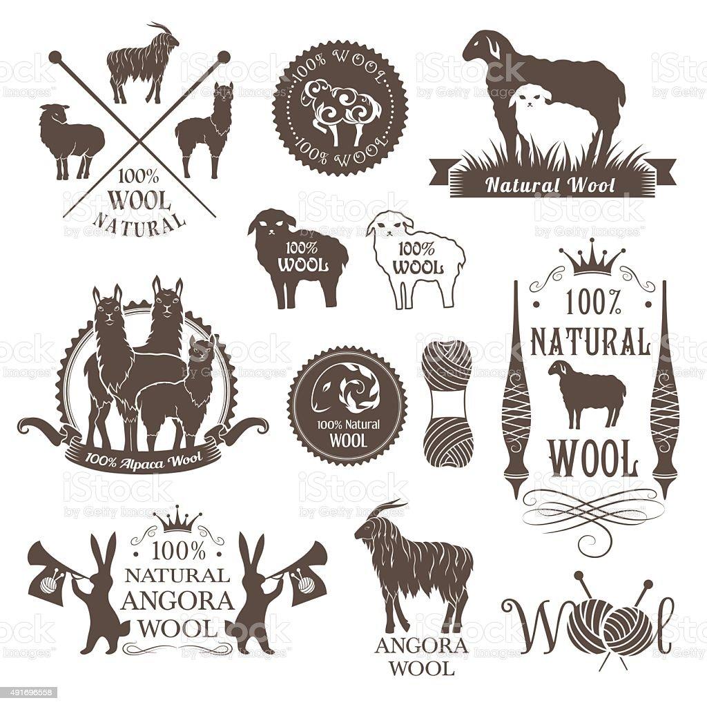 Wool labels and design elements. vector art illustration