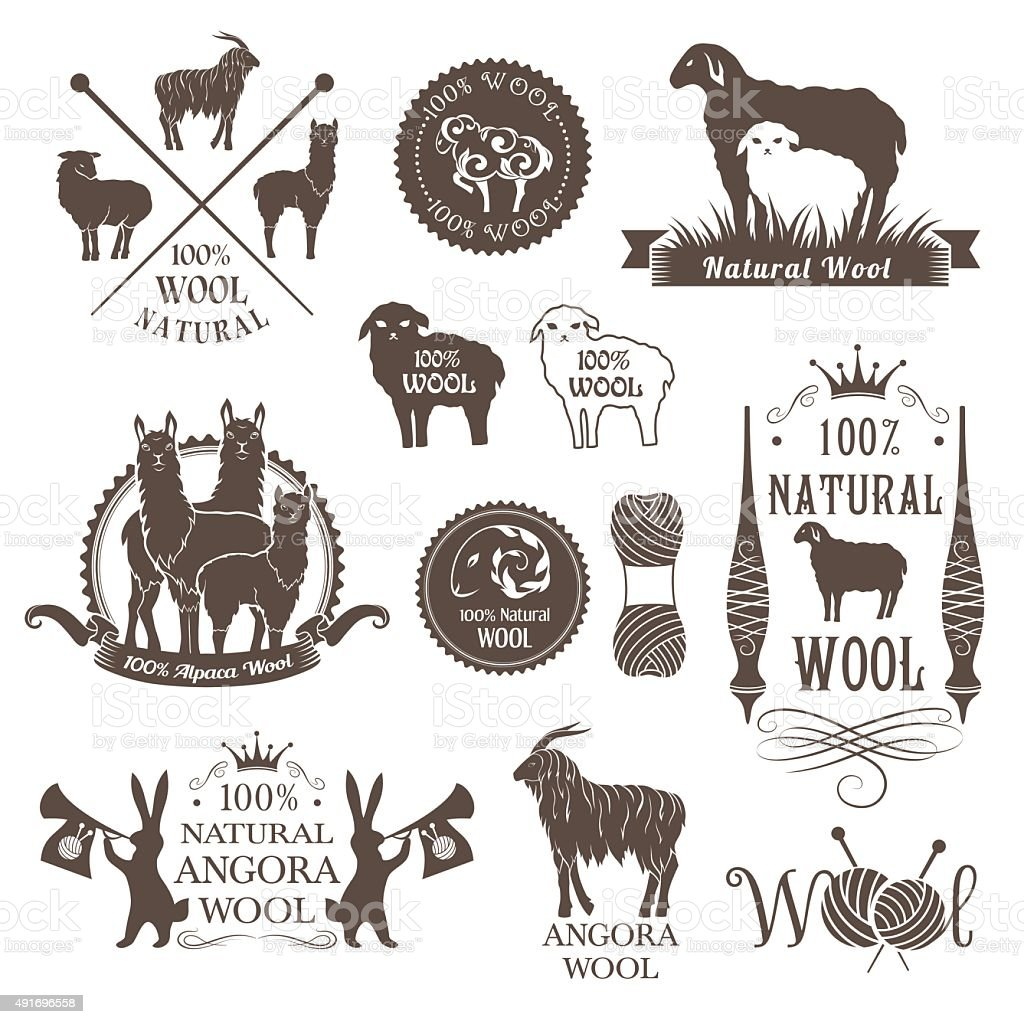 Wool labels and design elements. vector art illustration
