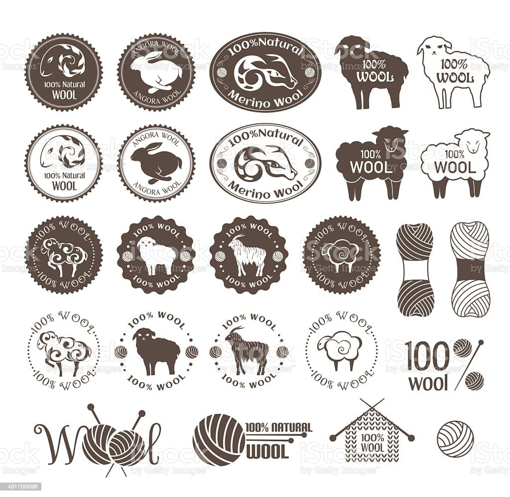 Wool labels and sticker collection vector art illustration
