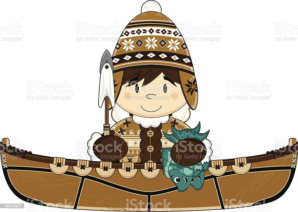 Wooly Hat Inuit Fisherman in Canoe royalty-free stock vector art