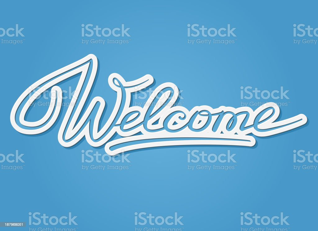 A word art picture of the word welcome in cursive writing  vector art illustration
