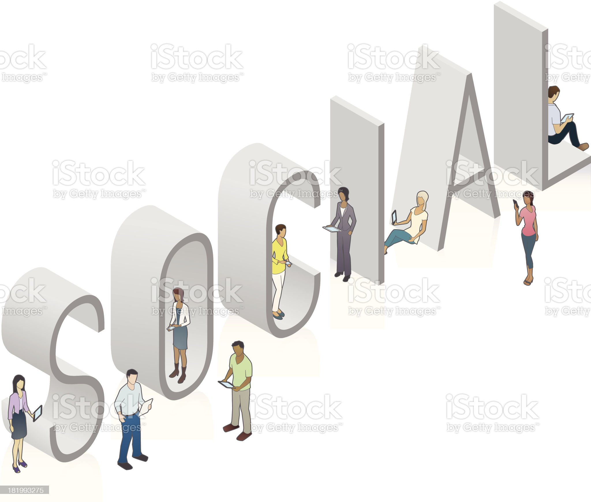 SOCIAL Word Art royalty-free stock vector art