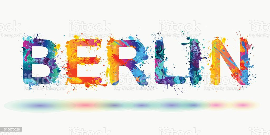 word BERLIN. Splash paint vector art illustration
