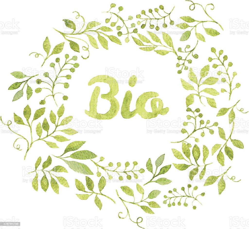Word Bio in floral wreath with branches and leaves vector art illustration