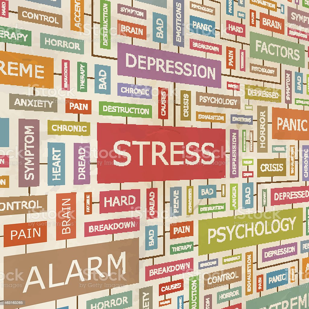 Word chart on stress, depression and psychology vector art illustration