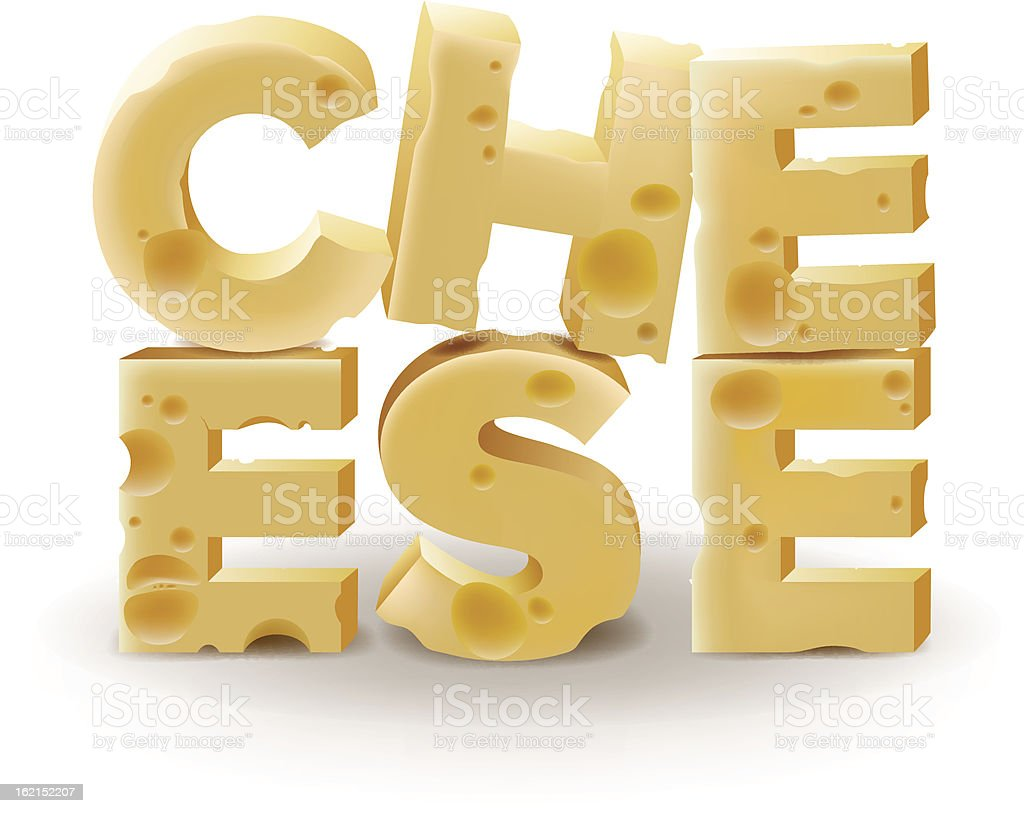 Word Cheese written on white background royalty-free stock vector art