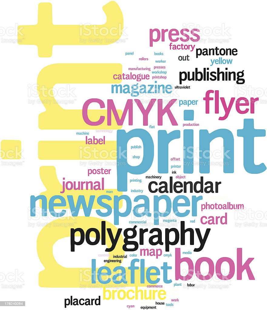 A word cloud for the word print vector art illustration