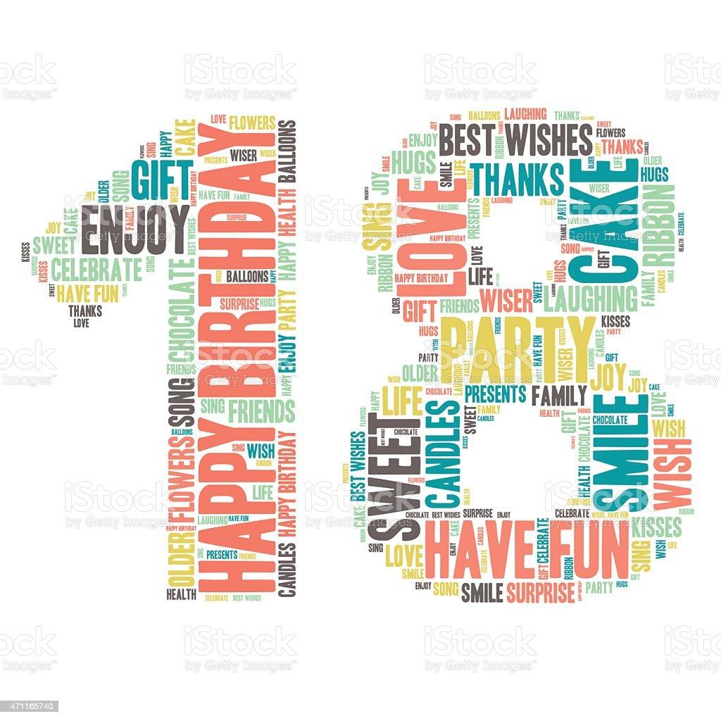 Word Cloud - Happy Birthday Celebration - 18 vector art illustration