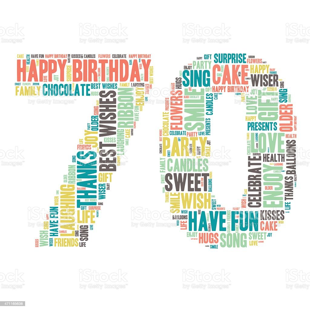 Word Cloud - Happy Birthday Celebration - Seventy vector art illustration