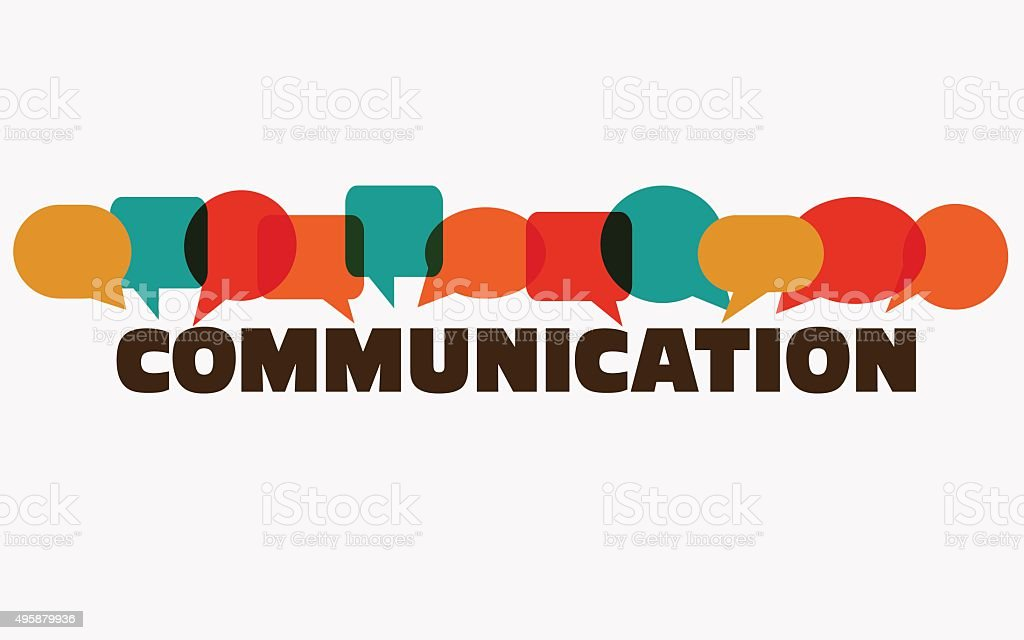 Word 'communication' with colorful dialog speech bubbles. Communication vector concept vector art illustration
