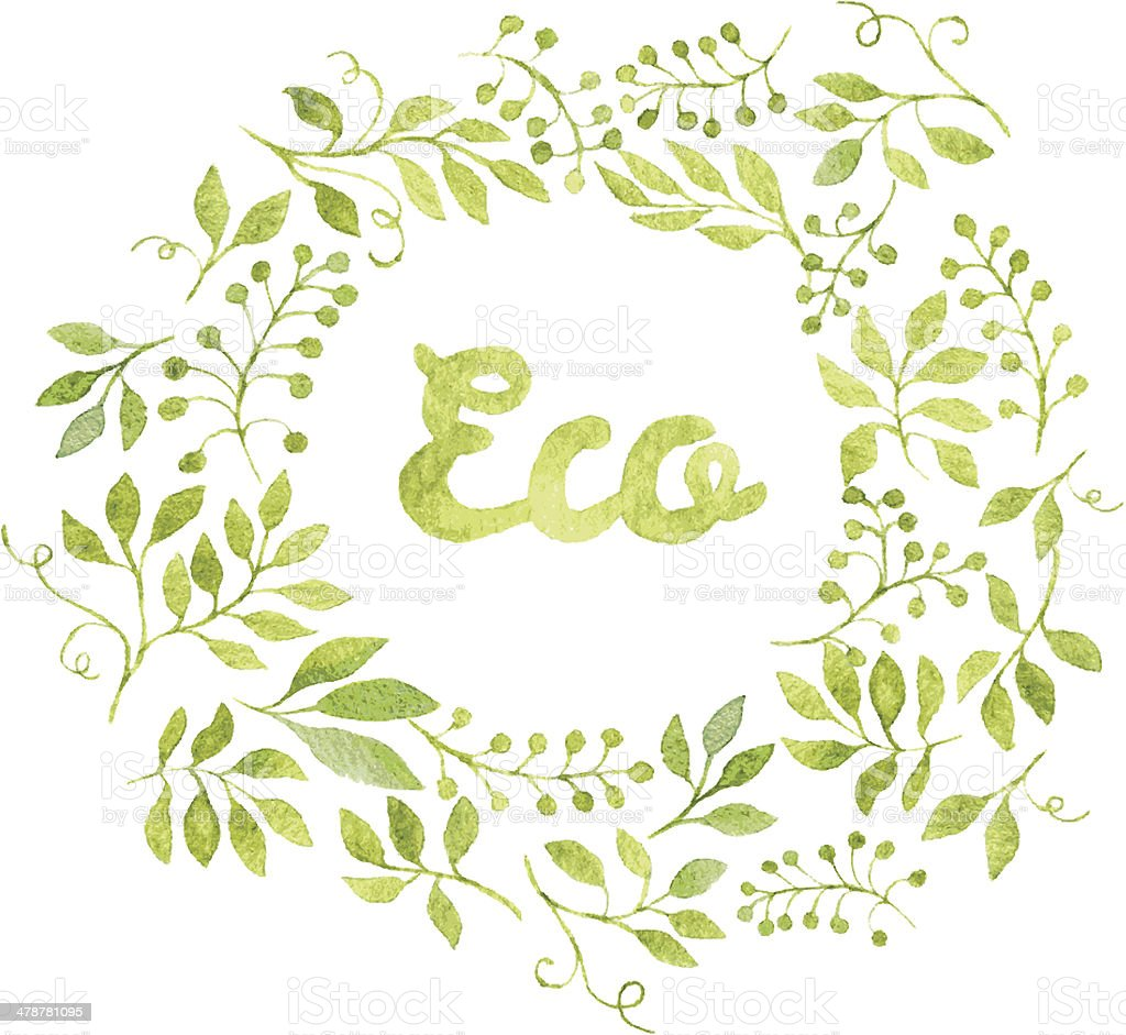 Word Eco in floral wreath with branches and leaves vector art illustration
