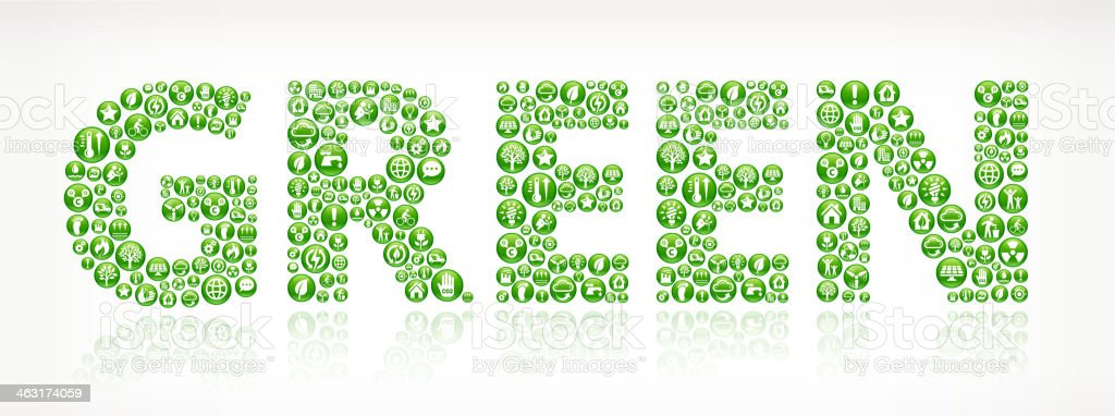 Word 'Green' with energy buttons icon vector art illustration