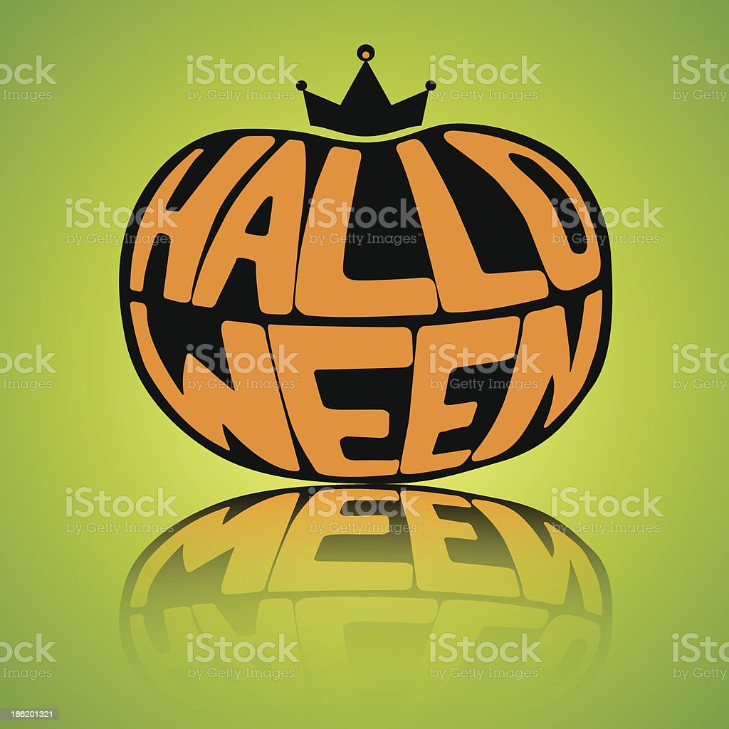 word Halloween in the form of pumpkin royalty-free stock vector art