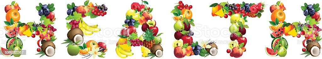 Word HEALTH composed of different fruits with leaves vector art illustration