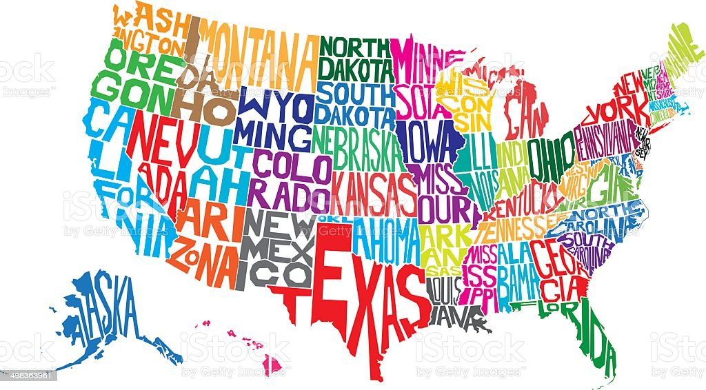 USA Word Map vector art illustration