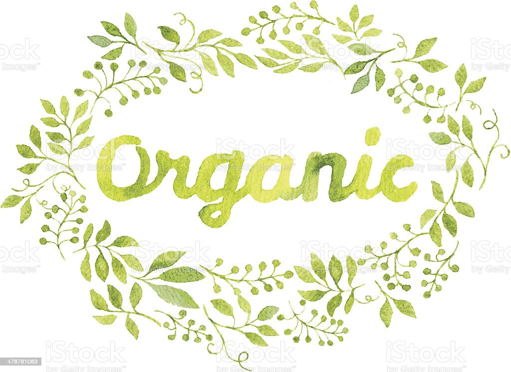 Word Organic in floral wreath with branches and leaves vector art illustration