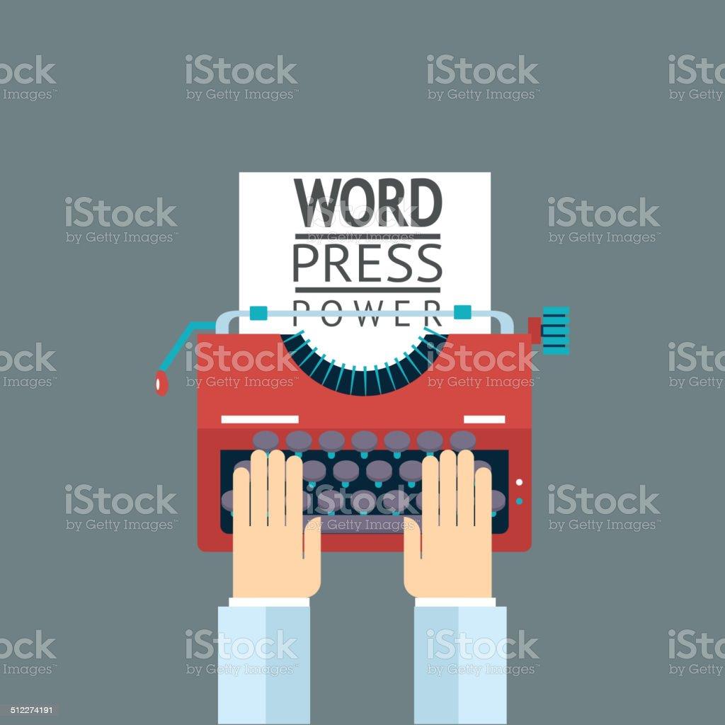 Word Power Mass Media Symbol Press Hand Typewriter Journalist Icon vector art illustration