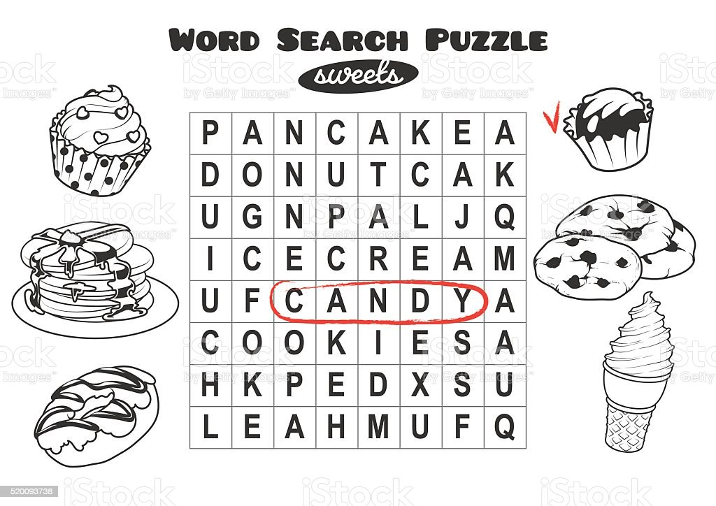 Word search puzzle with sweets. vector art illustration