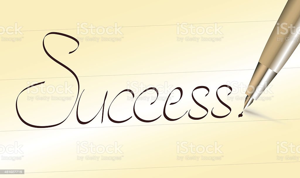 Word success written by pen royalty-free stock vector art
