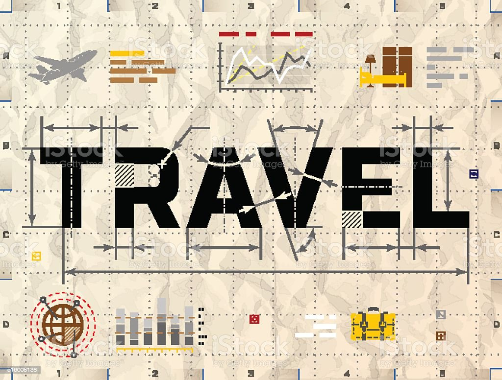 Word TRAVEL as technical blueprint drawing vector art illustration