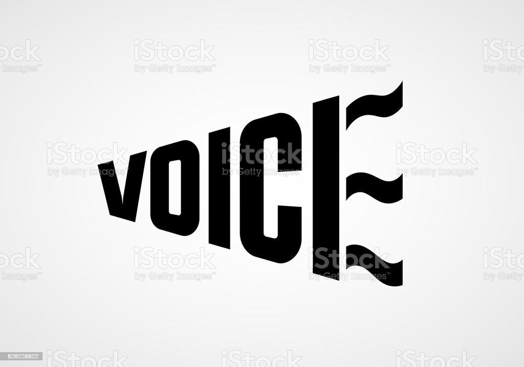 Word Voice in the form of bullhorn. Vector lettering vector art illustration