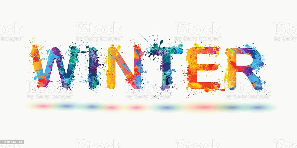 Word Winter. Rainbow splash paint sign vector art illustration