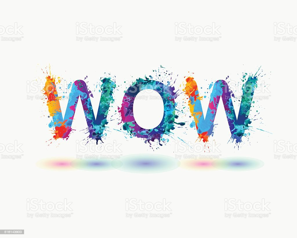 Word WOW. Rainbow splash paint sign vector art illustration