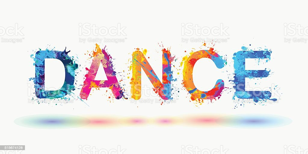 DANCE. Word written spray paint vector art illustration