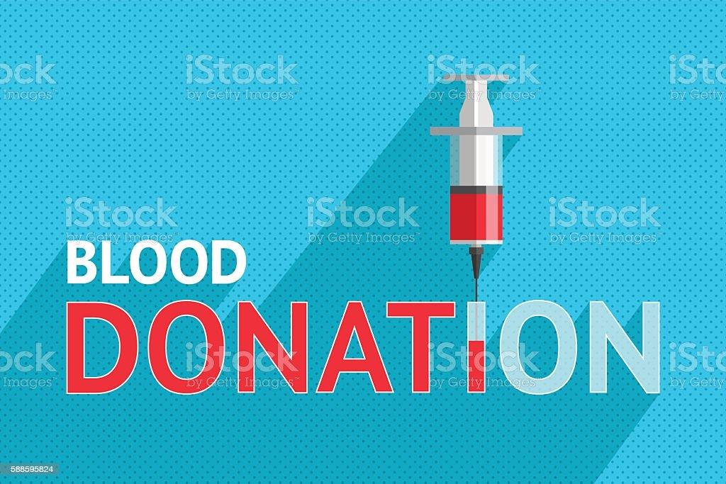Words 'blood donation' and syringe vector art illustration