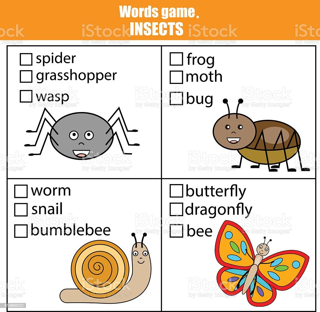Words test educational game for children. Animals insects theme,...