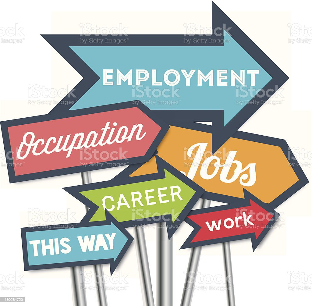 Work and employment this way vector art illustration