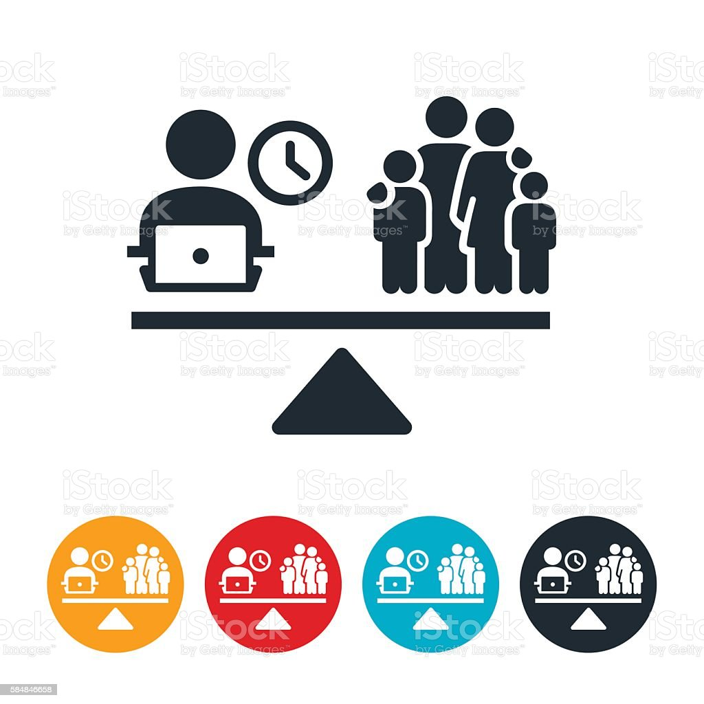 Work and Family Balance Icon vector art illustration