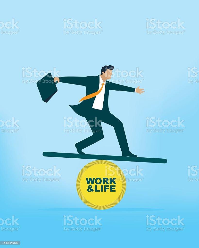 Work and Life Balance vector art illustration